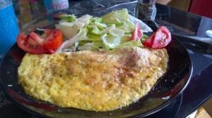 Gemischter Salat und Pilz Omlette